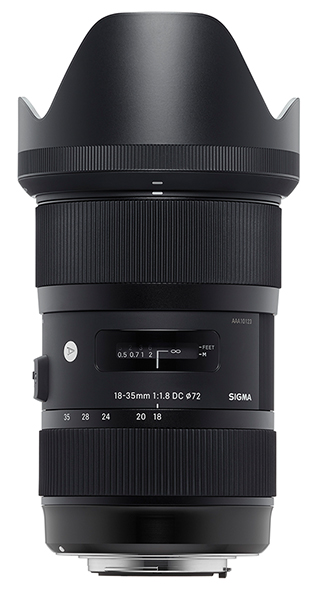 Sigma 18-35mm f/1.8 Front View with Hood