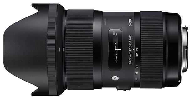 Sigma 18-35mm f/1.8 Side View with Hood